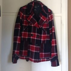 American eagle pea coat Red, blue and white plaid pea coat from American eagle. Excellent condition- only worn a handful of times. Size medium American Eagle Outfitters Jackets & Coats Pea Coats