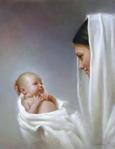 This image gives me peace.  I imagine baby Blaise in the arms of the perfect mother, Mary.  (Hope - Joseph F. Brickey)