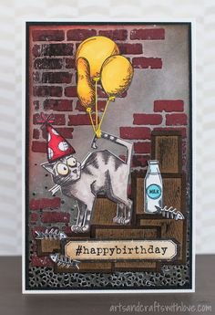 Birthday wishes from the alley cat! Fun collage card with stamped and die-cut elements. -by Elina Stromberg-