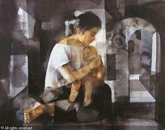 _by Vicente Silva Manansala, a Filipino cubist painter and illustrator Filipino Art, Philippine Art, Cubism Art, National Art, Baby Art, Mother And Child, Pictures To Paint, Magazine Art, Art Market