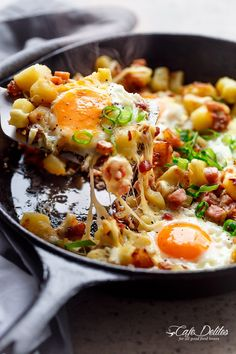 Cheesy Bacon And Egg Hash   http://cafedelites.com