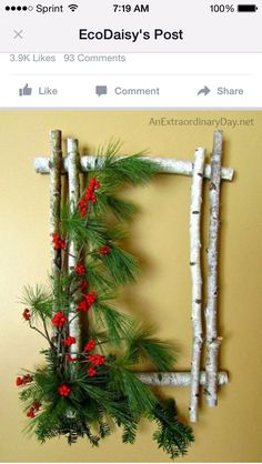 Use that birch tree for some added decoration along with fresh pine from your back yard! Simple and shabby!
