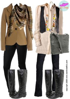 riding boot outfits ((I personally love the outfit on the left side))