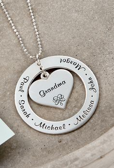 Let us engrave your loved one's names on this Mother's Necklace. Since you can get as many engravings as you need, this Grandmother Necklace in Sterling Silver makes an ideal gift for mothers, grandmothers and children alike! It is a perfect necklace for moms everywhere!