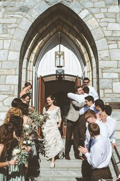 Love the picture of bride and groom coming out of church. Could we get pics on steps of church with wedding party?