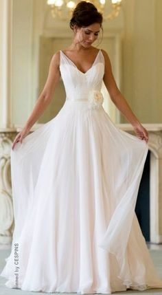2015 Wedding Dresses A Line V-Neck Sashes Flower Chiffon Bridal Gowns greek wedding gown Wedding Dresses 2014, Wedding Attire, Simple Beach Wedding Dresses, Flowy Wedding Dresses, Simple Wedding On A Budget, Floaty Wedding Dress, Outdoor Wedding Dress, Dresses 2016, Beach Weddings