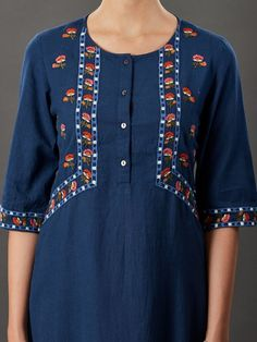 Buy Navy Blue Embroidered Cotton Linen Kurta online at Theloom