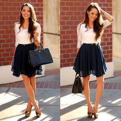 Sheinside Lace And Navy Skater Dress, Prada Saffiano Lux