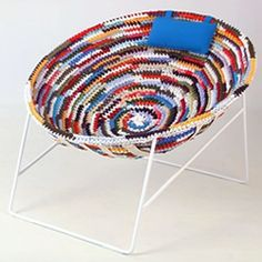 """Rag"", the eco-sustainable armchair made from recycled old t-shirts, created by Spanish designer Dani Catalán."