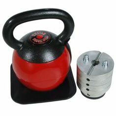 Adjustable-weight kettlebell with a cast iron handle and square base pad.    Product: Kettlebell   Construction Material: Cast iron and steel   Color: Red and black   Features:  Working out with kettlebells burns body fat,and improves strength, joint mobility and cardio fitness   Adjusts from 16 to 36 lbs in 4 lb increments     Patented weight adjustment system makes changing weights quick, easy, and secure   Wide, easy grip handle designed for one handed or two handed grip   Rounded base…