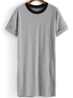 Striped Long Grey T-shirt -SheIn(Sheinside)