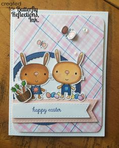 Butterfly Reflections, Ink.: Reverse Confetti Bunny Card and Tag