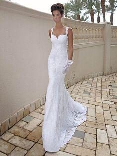 A-line/Princess Straps Sleeveless Applique Sweep/Brush Train Lace Wedding Dress, Sweetheart Low Back Beadings Wedding Dresses