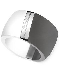 Calvin Klein Stainless Steel White and Grey Colorblocked Ring