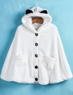 To find out about the White Hooded Buttons Pockets Cape Coat at SHEIN, part of our latest Outerwear ready to shop online today! Cute Coats, White Shop, Winter Coat, Hoods, Style Me, Cape, Sweet Fashion, Magical Girl, Kid Stuff