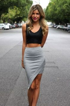 asymmetrical skirt crop top. If I could pull this off is be the happiest girl in the world