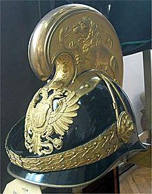 Helm eines Offiziers der k.u.k. Dragoner  der Gegenpart zur preussischen Pickelhalbd
