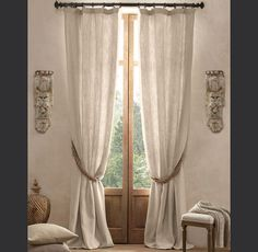 """$359 dollars a planel 50 """" wide 96""""long FRENCH PLEAT in sand? or linen? Textured Belgian Linen Drapery"""