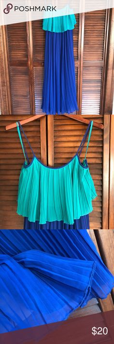 Maxi Dress YA Los Angeles Lovely flowy blue maxi dress. Super comfortable! Straps tie in the back. Great used condition. Some wear on very bottom hem thread and one strap as shown in pictures. Smoke and pet free home. Make an offer or bundle and save! Ya Los Angeles Dresses Maxi