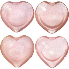 Murano Pink Gold Flecks Italian Art Glass Heart Shaped Bowls, Set of Four | From a unique collection of antique and modern bowls and baskets at https://www.1stdibs.com/furniture/decorative-objects/bowls-baskets/