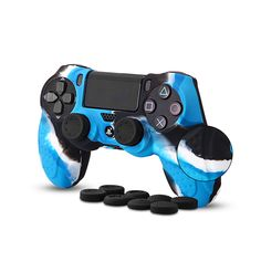 CHINFAI Controller for Sony Slim/ Pro with 8 Thumb Grips, DualShock 4 Skin Grip Anti-slip Silicone Cover Protector Case Ps4 Controller, Cell Phone Accessories, Sony, Gaming, Buttons, Design, Videogames, Games, Game