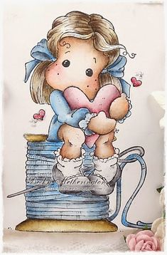Morning my lovelies, I'm here today with a card that I have made for two challenges Add Pearls at The Ribbon Girls Magnolia Only challen. Meninos Country, Magnolia Colors, Crackle Painting, Marker Art, Digi Stamps, Paper Roses, Copics, Drawing For Kids, Magnolias