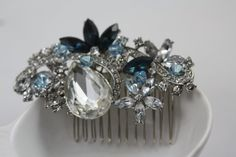 Swarovski bridal hair comb, Brooch , Barrette , Wedding Hair Comb, Bridal Comb,  Crystal Brooch, Something Blue, Wedding Jewelry,(Mariana)