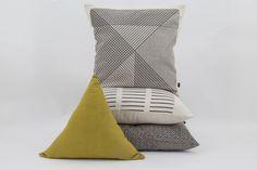 Moss Green Triangle Cushion, Crisscross Cushion, Black Multi-grid cushion