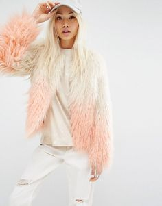 Unreal Fur | Unreal Fur Pastorale Ombre Jacket Faux-shearling fabric Lined design Open front Ombre design Regular fit - true to size Dry clean 100% Modacrylic