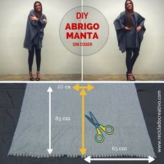 DIY Abrigo manta sin coser - Blanket coat no sew Por RecicladoCreativo.com https://youtu.be/3AJ7fVqMlQM?list=PLemyWmGdwuSOadr85AUSy7Fvvt26iKvWo