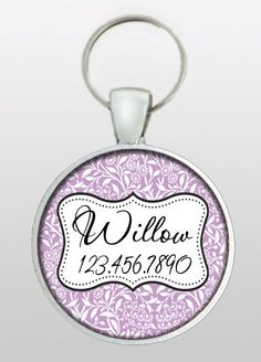 Pet I.D. Tag - Dog ID Tag - Girly Dog Tag - Purple Pet Tag - Feminine Dog Tag - Gifts for Dogs - Gifts Under 10 - Dog Tag  - Design No. 246