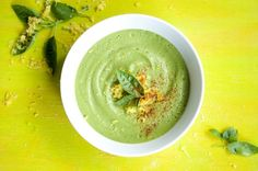 Asparagus and basil soup. Perhaps to serve at Easter or just to have as a great spring dish.
