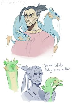 I love this ~ Hanzo's Dragons are all magestic and regal, while Genji's Dragon is full of derp!