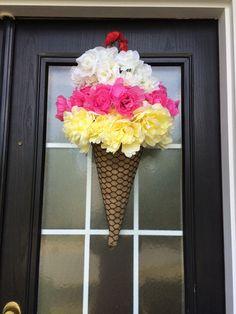 Ice-Cream Cone Wreath Summer Wreath Ice-Cream Door by SnappyPea