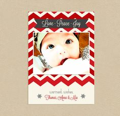 Printable Reds Chevron and Snowflakes Holiday Christmas Card 4x6 or 5x7 Love Peace Joy. $15.00, via Etsy.