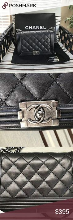 Chanel Classic Lambskin Messenger Flap Bag 100% Guaranteed authentic Chanel Le Boy Medium messenger bag purchased last year and only used a handful of times! I have carefully taken detailed photos of all of the bag's imperfections including the small bit of wear on the corners and inside leather. This bag is gorgeous and smells new! The exterior looks amazing and the strap shows little to no signs of wear. Really sad to let this one go! CHANEL Bags Shoulder Bags