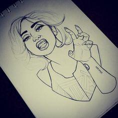 Outline Gaga Sketch.