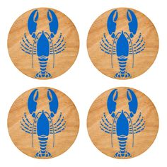 You can't think of Maine without thinking of fresh Maine lobster. Join the crustacean nation. Add a pop of color to your tabletop with our Lobster Coasters. Old Bar, Wooden Coasters, Laser Engraving, Creative Design, A Table, Beverage, Paint Colors, Red And Blue, Color Pop
