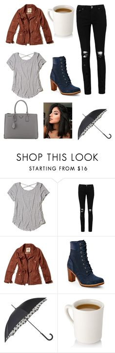"""Coffee in Seattle"" by kaytwd on Polyvore featuring Hollister Co., Boohoo, Timberland, Fulton and Prada"