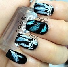 Lalalalalove these nails! #dreamcatcher #blue #black