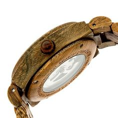 Earth Wood Men's Grand Mesa Automatic Eco - Friendly Sustainable Wood Bracelet Watch - Olive, Olive Tree