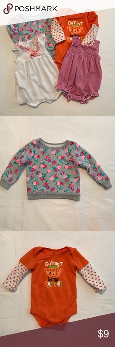 6-9 month girl bundle One sweater, never worn, one long sleeved onesie, and two rompers. Great condition One Pieces