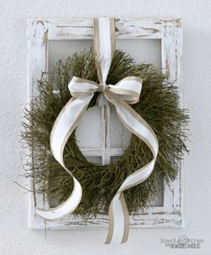 Build this easy DIY decorative window frame and make your seasonal decorating swaps as easy as switching a wreath. Perfect for Christmas and all year! Rustic Window Frame, Old Window Decor, Window Frame Decor, Old Window Frames, Frames On Wall, Window Ideas, Design My Room, Design Design, Shabby Chic Living Room