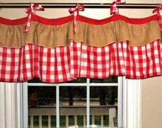 A very country chic valance, perfect for any french country, country chic room decor. Top of valance has tie tabs in gingham, and a burlap ruffle Country Curtains, Cafe Curtains, Kitchen Curtains, Drapes Curtains, Modern Curtains, Burlap Window Treatments, Window Coverings, Burlap Valance, Kitchen Sink Window