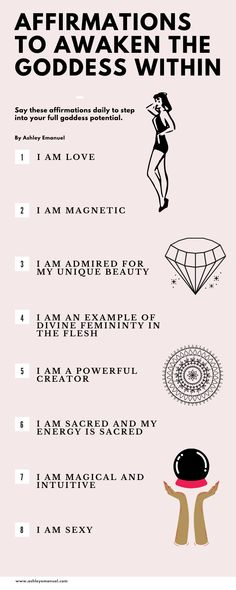 Positive and powerful affirmation to awaken the goddess within. Use these spiritual quotes to get in touch with your spirital nature that is in alignment with the goddess and the goddess energy. Feminine Energy, Divine Feminine, Goddess Quotes, Citations Yoga, Self Love Affirmations, Morning Affirmations, Divine Goddess, Energy Quotes, Manifestation Law Of Attraction