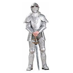 Adult Knight in Shining Armor Costume, Men's, Silver