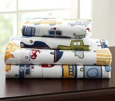 Love this sheet set for either of the boys!! Anything cars works :)     Patrick Sheeting #PotteryBarnKids