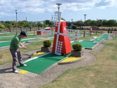 Richard Gottfried playing a Windmill Hole on the Arnold Palmer Crazy Golf course in Skegness
