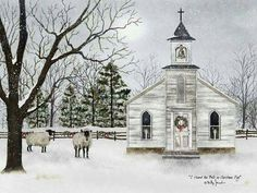 Billy Jacobs I Heard the Bells Winter Church Lighted Canvas Wall Art Arte Pallet, Pallet Art, Billy Jacobs Prints, Old Country Churches, Arte Country, Country Decor, Lighted Canvas, Christmas Art, Canvas Wall Art