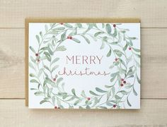 Christmas wreath + green,red + calligraphy + merry Christmas #Christmas cards ideas